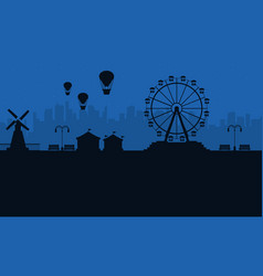 Amusement park at night scenery silhouettes vector