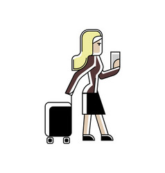Blonde woman with travel bag and ticket in hands vector