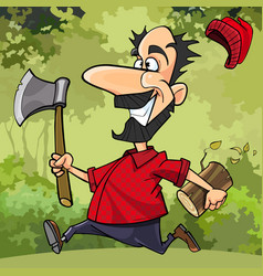 cartoon funny lumberjack runs through the forest vector image vector image