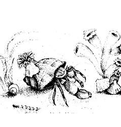 Crab in in the ocean vector