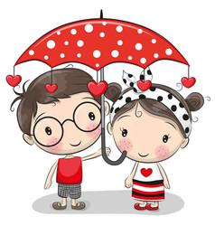 Cute boy and girl with umbrella vector