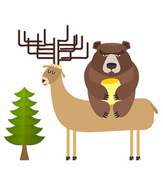 Deer and bear vector image