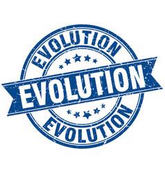 Evolution round grunge ribbon stamp vector