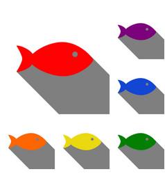 Fish sign set of red orange yellow vector