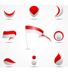 flags and icons of indonesia vector image