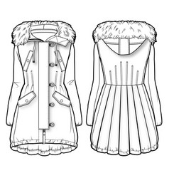 front and back view of a winter coat with fur vector image vector image