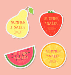 Fruits with summer sale text vector