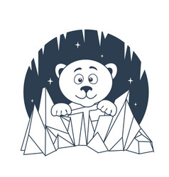 Icon polar bear night vector