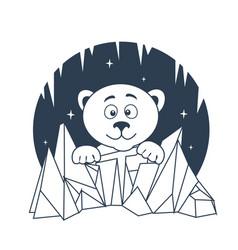 icon polar bear night vector image vector image