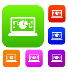 laptop with business graph set collection vector image