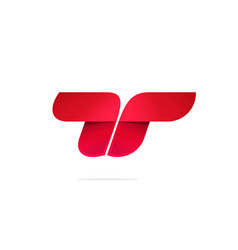 Letter t or double r logo concept red vector