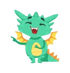 Little anime style baby dragon laughing and vector