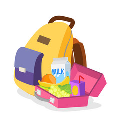 Lunch box and bag schoolbag with healthy vector
