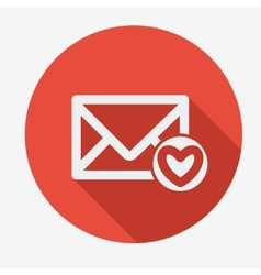 Mail icon envelope with heart Flat design vector image vector image