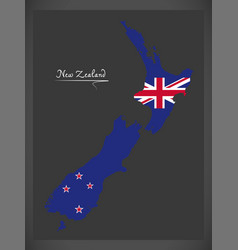 New zealand map with national flag vector
