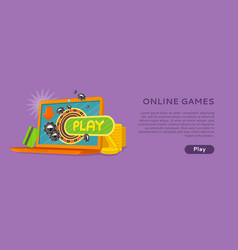 online games banner laptop casino roulette wheel vector image