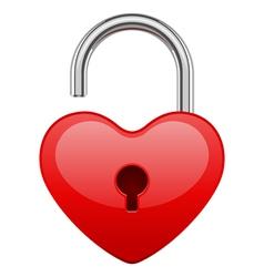 Open red shiny heart lock shape vector