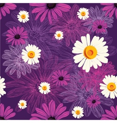 Seamless floral pattern with violet flowers and vector image vector image