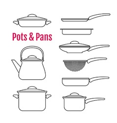 Set of silhouettes utensils pots pans kettle vector