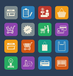 Shopping mall and delivery icons set flat design vector
