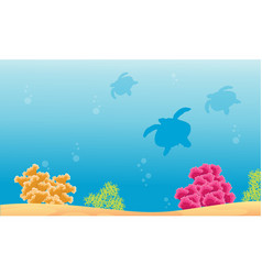 Silhouette of turtle with beauty reef landscape vector