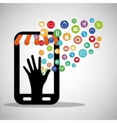 Smartphone shopping virtual wearable technology vector
