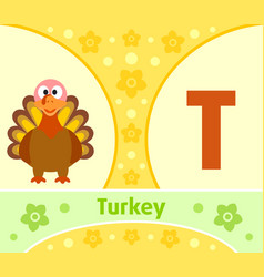 the english alphabet with turkey vector image vector image
