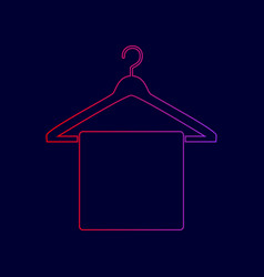 Towel on hanger sign line icon with vector