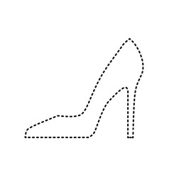 Woman shoe sign black dashed icon on vector