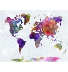 World map in watercolor multicolor blue sea vector