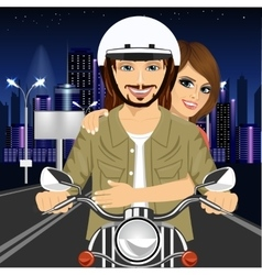 Young couple riding motorcycle through city vector