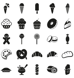 Set of black dessert icons vector