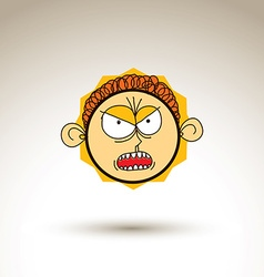 Artistic colorful drawing of furious person face vector