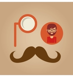 Hipster concept mustache and monocle man vector