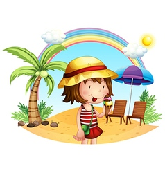 A beach with a little girl vector image