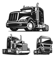 Truck set black and white vector