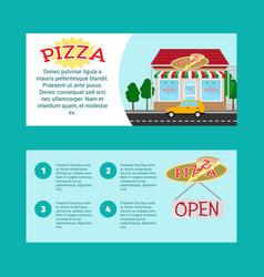 Pizza house horizontal flyers vector