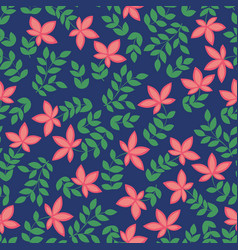 Seamless pattern with red flowers decorative vector