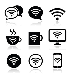 Wifi internet cafe wifi icons set vector image