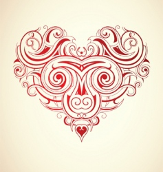 Floral heart print vector