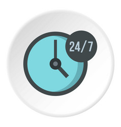 Open or served around the clock icon circle vector