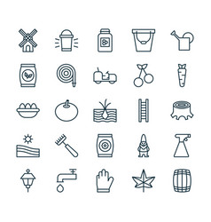 Farm icons set collection of agrimotor meadow vector