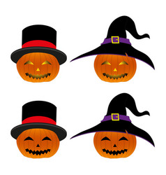 halloween pumpkin lantern with magician hat and vector image