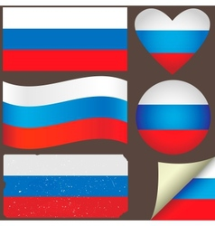 Russia flags set vector
