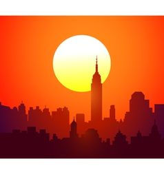 New york skyline and sunset- vector