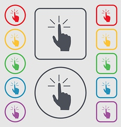 Click here hand icon sign symbol on the round and vector
