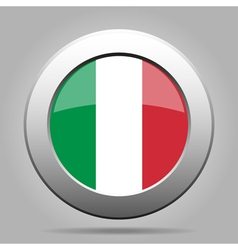 Metal button with flag of italy vector