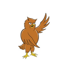 Owl standing pointing wing cartoon vector