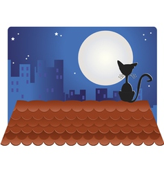 Black cat on roof vector