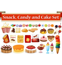 Many kind of snack and candy vector